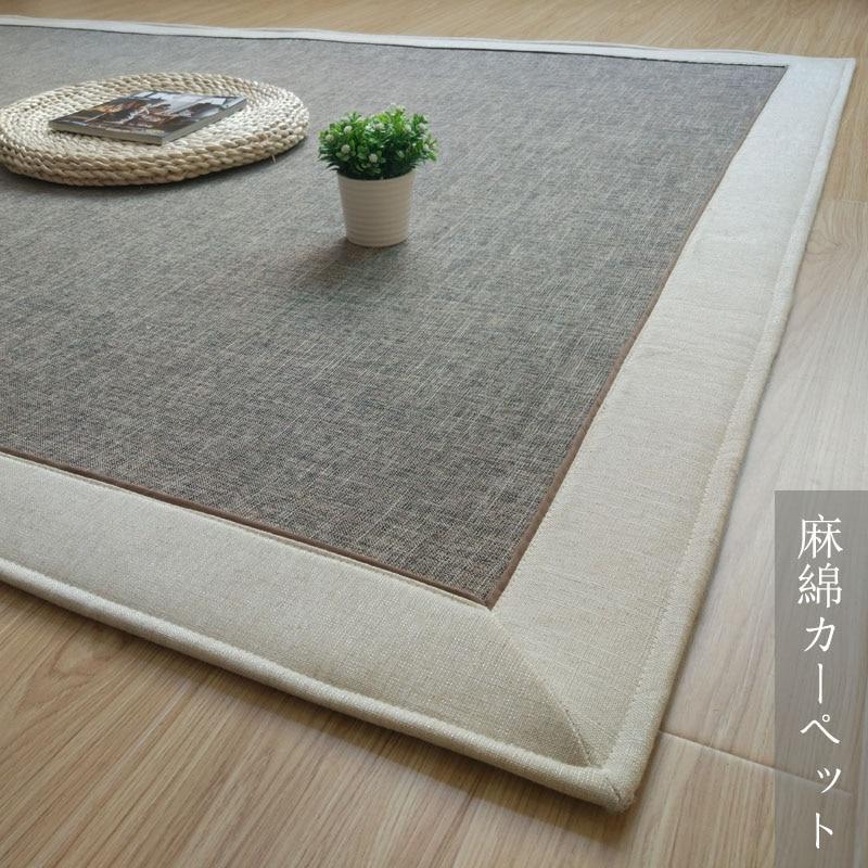 Tapis lavable à la Machine de tapis de Jute de coton de Style japonais brillant infantile pour le tapis de jeu de bébé de salon