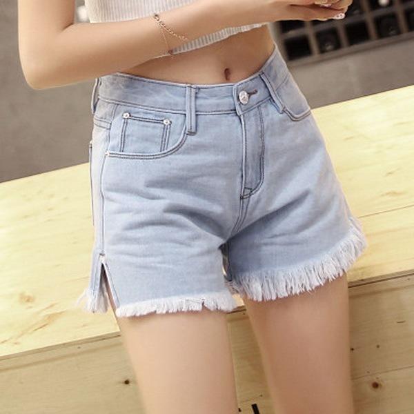 Rebarbas de moda de cintura Alta Mulheres Shorts Jeans Cowboy 2016 Nova Garota verão Casual Hot pants calças Jeans Calças Curtas Azul Branco SK6381
