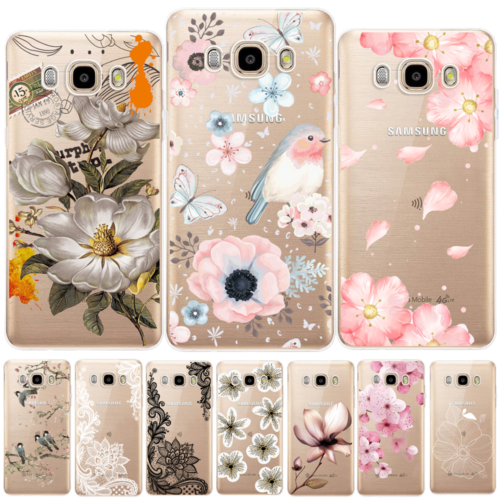 Floral Leaves Soft TPU Cover For Samsung Galaxy J3 J5 J7 2015 2016 2017 J2 Pro J3 J7 J8 J4 J6 2018 J2 J5 Prime Flower Rose Case image