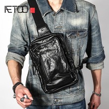 AETOO The first layer of leather chest bag mens soft large capacity casual multi-functi