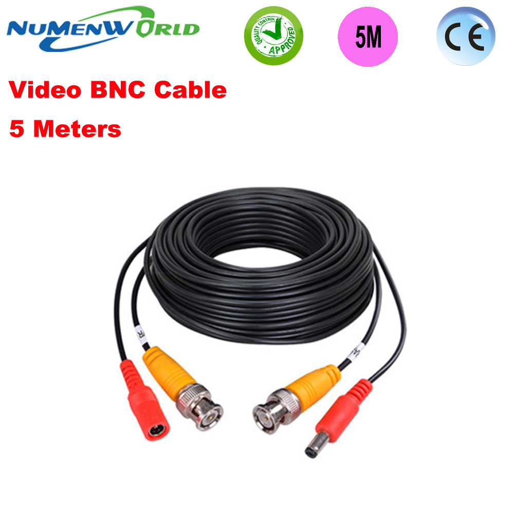 Best Quality BNC Cable 5Meter 2 In 1 Power Supply & BNC Extension Cable For Analog/AHD Camera Line CCTV System BNC Cord