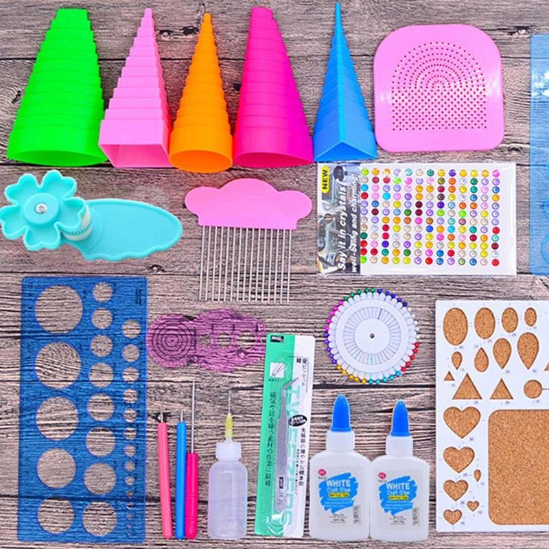 Handmake Paper Template DIY Paper Quilling Tools Set Template Mould Board Tweezer Pins Slotted Tool Kit Card Paper Crafs Tools