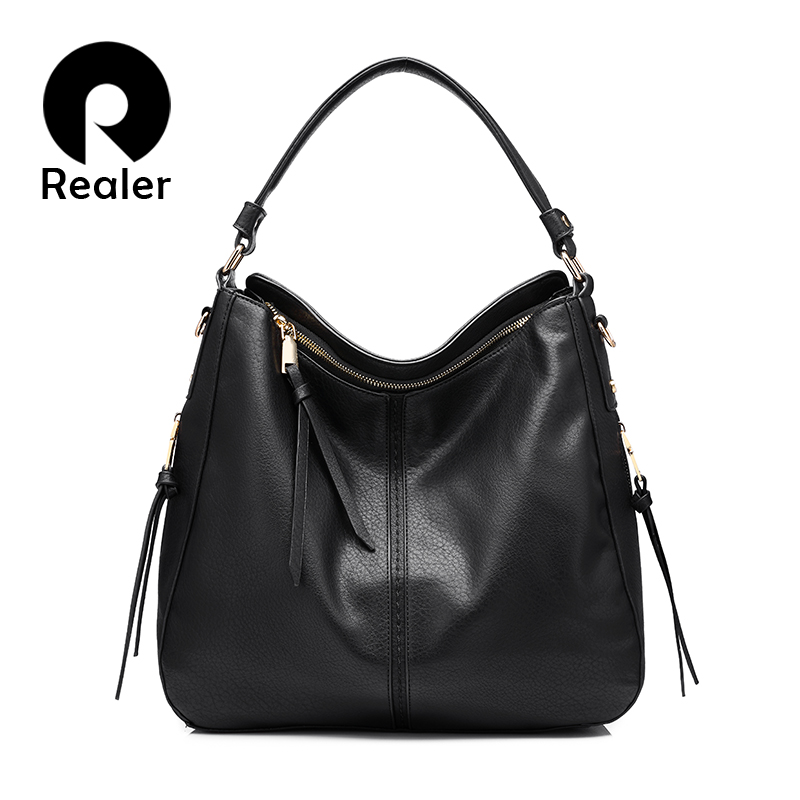 realer brand handbag women shoulder bag female casual large tote bags high quality artificial leather ladies - Large Tote Bags