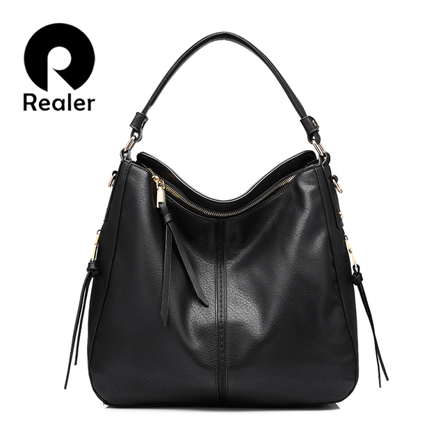REALER бренд модная большая сумка женская через плечо, дизайнер сумок высокого качества, дамская сумка из искусственной кожи