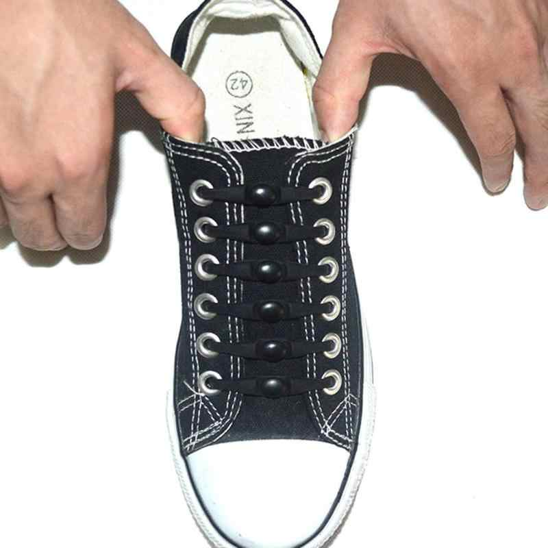 12 יח'\סט סיליקון ילדי ריצה לא עניבה נעל שרוכים אלסטיים תחרה
