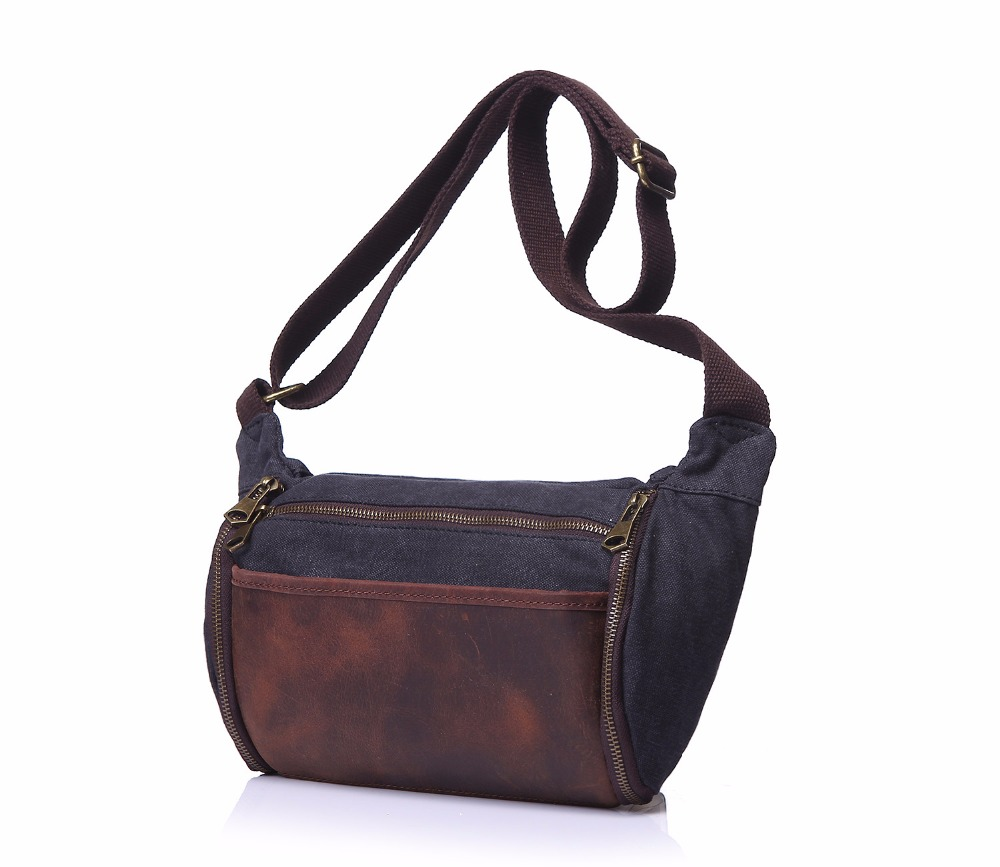 Vintage Canvas Crossbody Bag Men Casual Travel Shoulder Bags Fashion Large Capacity Male Leather Zippers Messenger Bags vintage canvas shoulder travel bags men large casual men crossbody messenger travel bag leisure hand luggage travel bags 1062