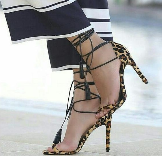 Big Size 44 Summer Hot New Woman Leopard Peep Toe Cross Lace Up Tassel Fringed Sexy High Heel Dress Party Sandals Shoes Lady