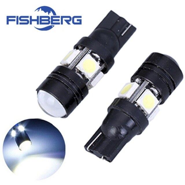 2pcs/lot T10 LED W5W Light Bulbs 5050 SMD  Lens 4 LED 12V Parking 194 168 Xenon White Red Blue Green Yellow Wedge FISHBERG