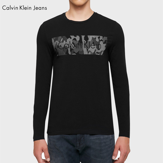 Calvin Klein Jeans / CK 2017 Long Sleeve T-Shirt Male O-Neck Slim Cotton Young Shirt Men 2017 Autumn New Tops Tees 4AFKNM6