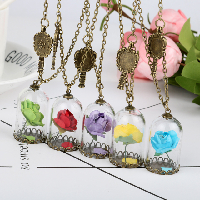 8c4a2fc858 New 2017 Vintage Beauty Beast Natural Handmade Glass Dried Flower Mirror  Magic Bottle Copper Necklace Rose Valentine'S Day Gift