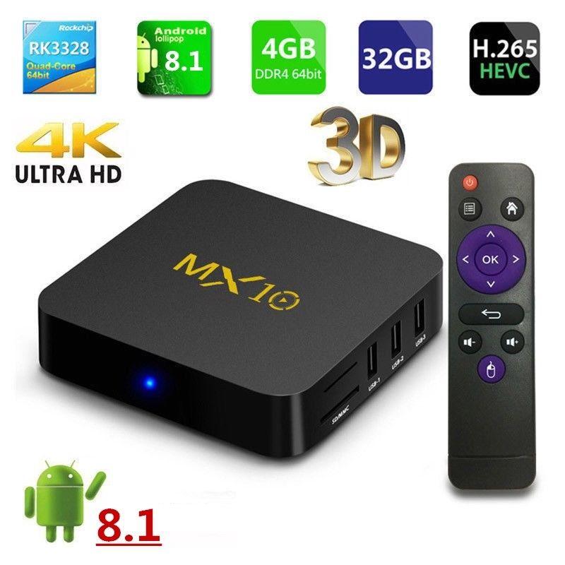 AKASO MX10 Android 8.1 tv box Wifi 4GB+32GB 4K 3D TV BOX Quad Core Media Player Streamer MX10 Set top Box Godd quality himedia m3 quad core android tv box home tv network player 3d 4k uhd set top box free shipping