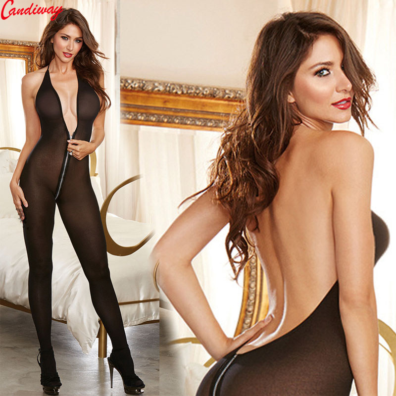 Zips Open Crotch Bodystocking Lingerie Wet Look Sexy Halter Underwear Intimates Erotic Crotchless Bodysuit Tight Sex Games