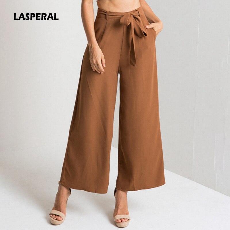 6212bc1af10 HIRIGIN Women Orange Wide Leg Chiffon Pants High Waist Tie Waist ...