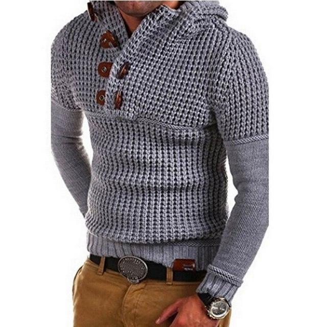 Laamei ברדס סרוג סוודר גברים מוצק בסוודרים ארוך שרוול לחצן V צוואר כותנה סוודרים Jumper סריגי אביב הלבשה עליונה Z35
