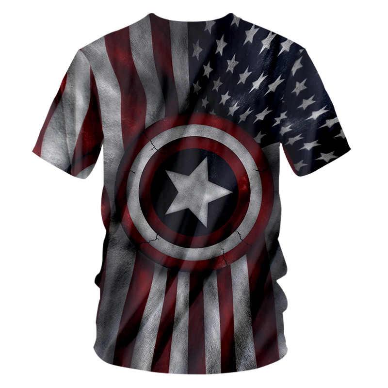 UJWI lato w nowym stylu O Neck Tshirt mężczyźni 3D T-shirt drukuj kapitan ameryka gwiazda Hiphop duży rozmiar kostium Unisex wiosenny T-shirt koszula