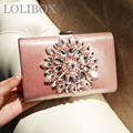 Women's Fashion Pink Sun Flower Rhinestones Crystal Evening Clutches Purses Wedding Party Cocktail Hard Case Clutch Handbags Bag