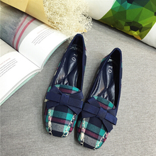 Fashion Plaid cloth style women shoes lady bow low heeled shoes heel 2cm female square head