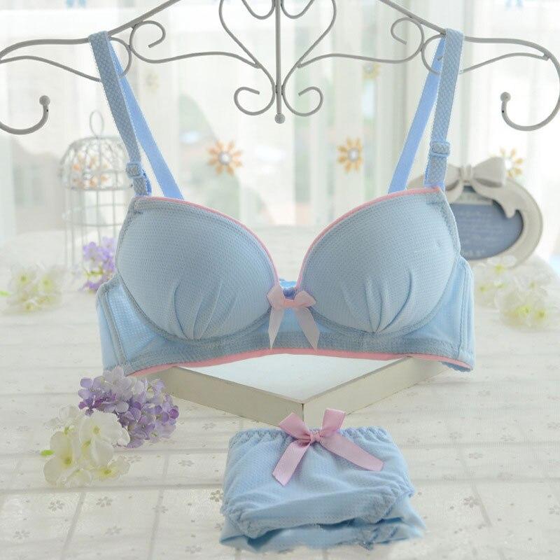 Wriufred Cute Bow Teenage Cotton Underwear Bralette Women Bra and Panties Push UP Bra Floral Print Wire Free Bra&Brief Sets