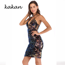 цена на Kakan2019 summer new women's sequins dress sexy deep V-neck stretch black gradient dress sexy nightclub hanging neck strap dress