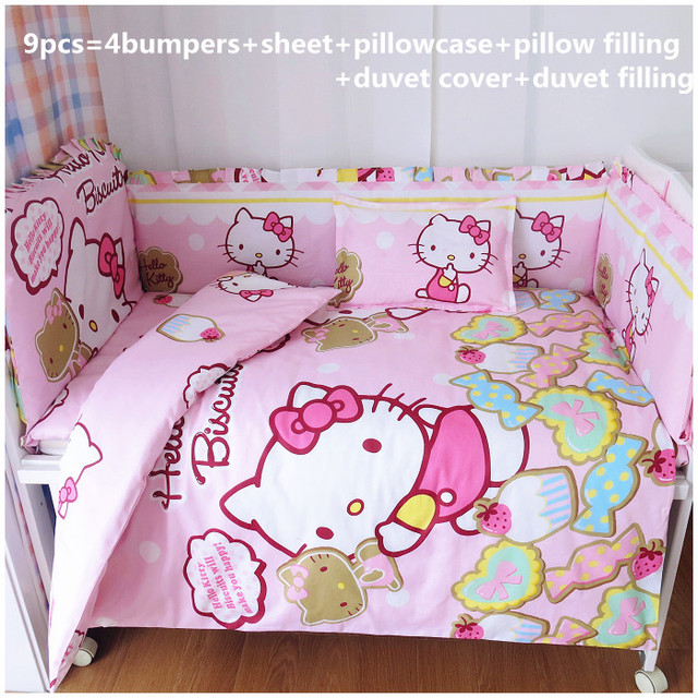 Promotion! 6/7PCS Hello Kitty Baby Bedding Sets Baby Crib Mattress With 100% Cotton Filling Newborn , 120*60/120*70cm