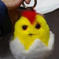 מחזיקי מפתחות בעלי החיים פרווה חדש נשים של תיק אמיתי שרשרת תליון מפתח ארנב רקס אפרוח צהוב יפה חמוד תליון מפתח מכונית של הילד מתנה