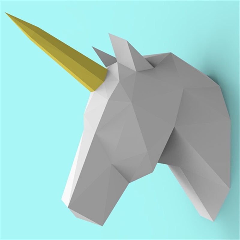 2019 Latest Design Paper Unicorn Head Model Toys Handmade Diy Material Manual Creative Party Show Props Tide Bedroom Decorate Gift For Children 2019 New Fashion Style Online Card Model Building Sets Toys & Hobbies