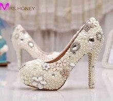 Pearl Women Shoes High Heel Round Toe High Heels Nightclub Stiletto Platforms Wedding Shoes Ivory Pearl Bridal Shoes Pumps