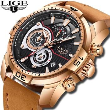 Relojes LIGE para hombre, reloj de cuarzo de lujo de marca superior, reloj deportivo militar impermeable para hombre, reloj de cuero de negocios, reloj Masculino