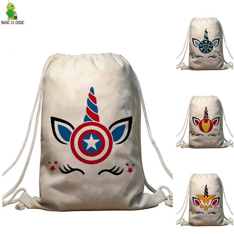 Unicorns SuperHero Prints Drawstring Bag Captain America Men Bundle Pocket Backpack Travel Softback Shopping Bag Female