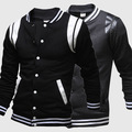 Stitching baseball uniform men brief paragraph flannelette fleece cardigan