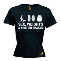 Sex Weights And Protein Shakes WOMENS T SHIRT Gymer Bodybuilding Mothers Day Gift Female Print Fashion