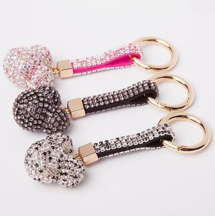 Strass Strass Lederband Kristall Karton Mickey Auto Keychain Schlüsselanhänger Charm Anhänger Schlüsselanhänger Für Frauen Porte Clef f22