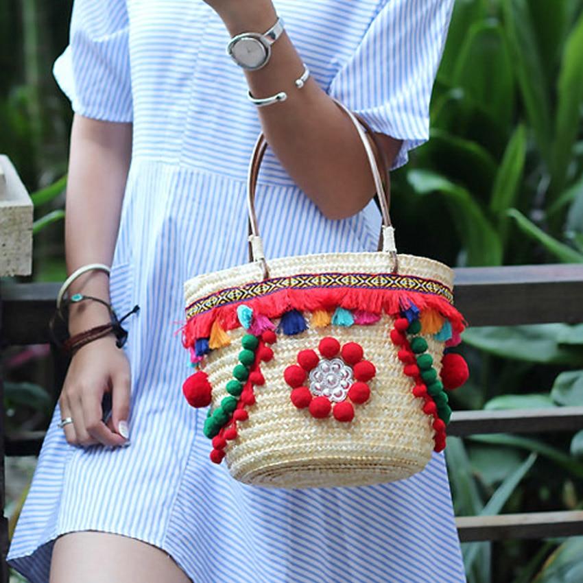 Fashion Women Handbag Colorful Pompon Summer Bohemian Boho Indian Embroidery Straw Bag Travel Woven Beach Shoulder Bag