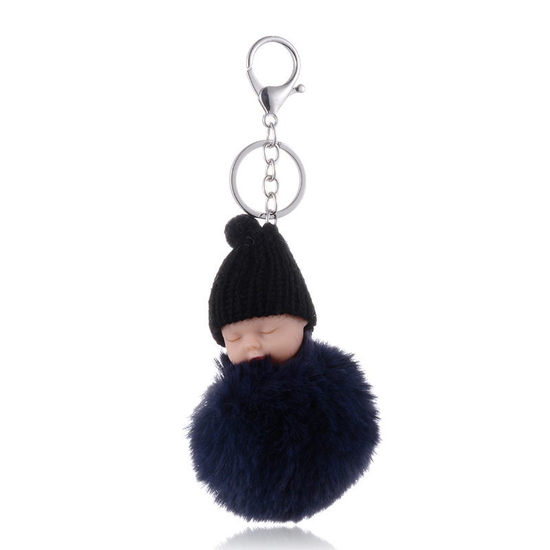 SUKI Cute Fluffy Sleeping Baby Keychain Pompom Rabbit Fur Ball Key Chain Car Keyring Women Key Holder Bag Pendant Charm Jeweler