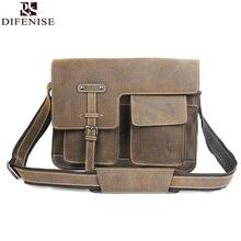 Genuine leather men bag crazy horse leather men's handbags Vintage business shoulder bag briefcase messenger bag High quality