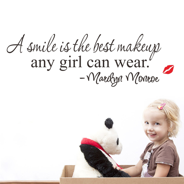 A Smile Is The Best Makeup Marilyn Monroe Quotes Wall Stickers Girls