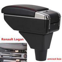 For Renault Logan armrest box central Store content Storage box armrest box with cup holder ashtray USB interface 2017