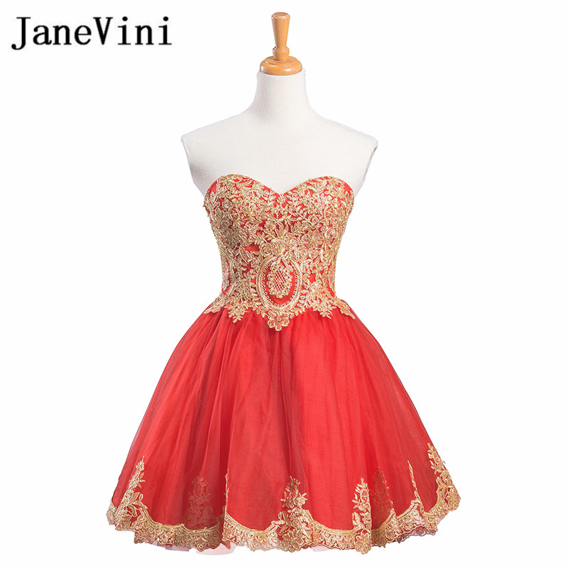 JaneVini Red Short Ladies Dresses for Wedding Party Gold Lace ...