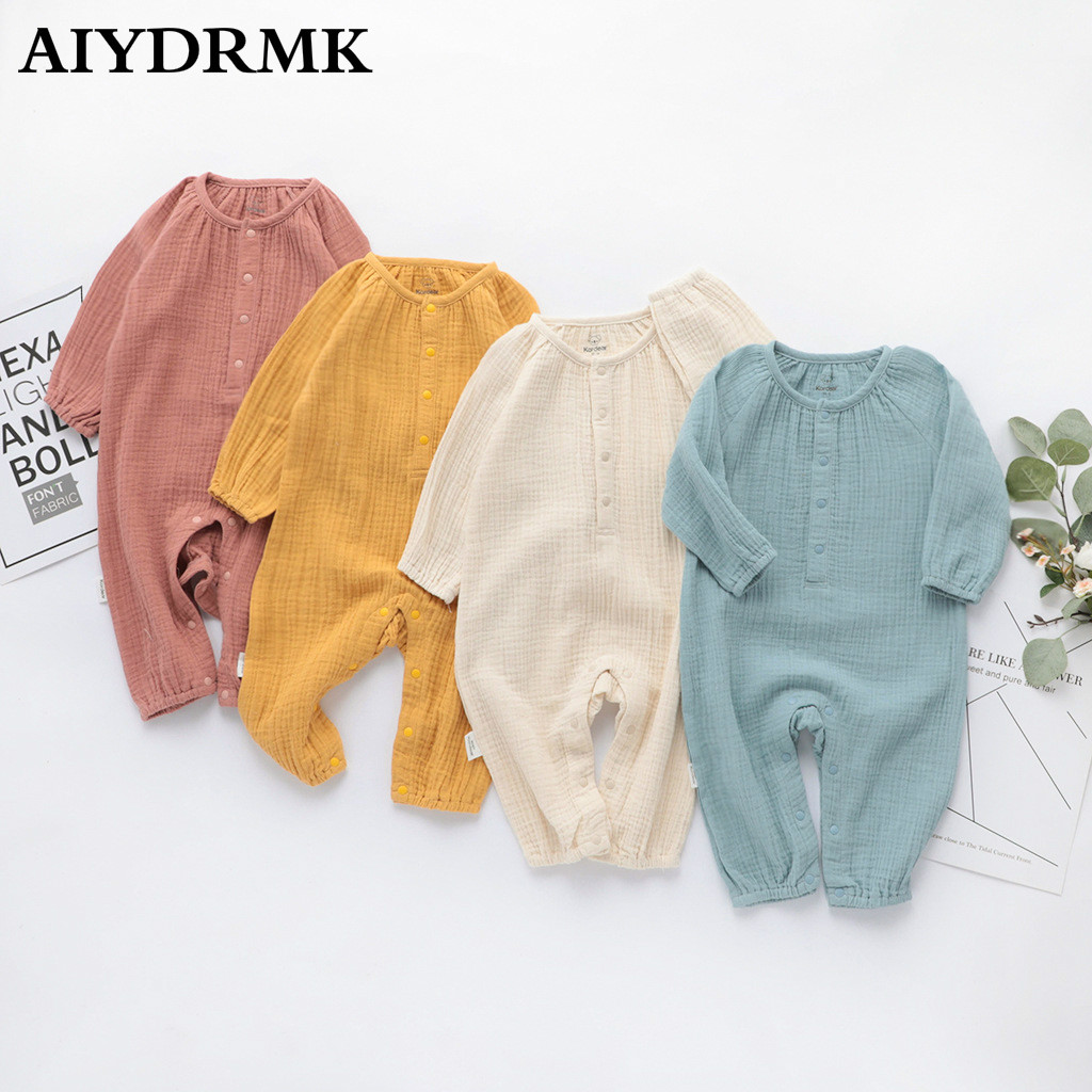 Organic Cotton Baby Clothes Linen Boy Baby Clothes Long Sleeve Toddler Romper Infant Baby Jumpsuit Fall Baby Clothes Boy Overall