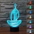 Chrismas creativo lámpara de luz de noche en forma de meditación yoga 3d led luz de la noche de acrílico atmósfera lámpara de gradiente de colores nave de la gota