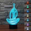 Chrismas criativo luz da noite da lâmpada em forma de meditação yoga 3d luz conduzida da noite acrílico colorido gradiente lâmpada atmosfera do navio da gota
