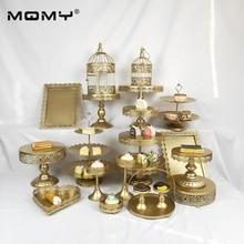 19pcs Wedding Cupcake Golden White Pink  Dessert Crystal Plate 3 Tier Metal Cake Stand