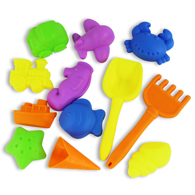 2019 Summer New 12PCS/set Beach Sand Play Toys Kids Seaside Bucket Shovel Rake Kit Play Children Dredging Tools Birthday Gift