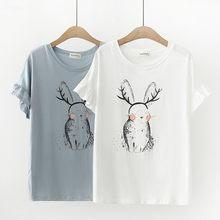 fd070e0b 2019 LOLITA SHIRT mori girls summer Japanese style fresh cute kawaii short  sleeve o neck rabbit