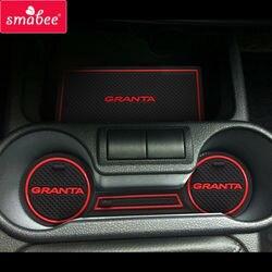 Dla łada Kalina GRANTA akcesoria, 3D gumowa mata samochodowa antypoślizgowa mata do samochodu, antypoślizgowe maty wewnętrzne drzwi Pad/Cup Mat