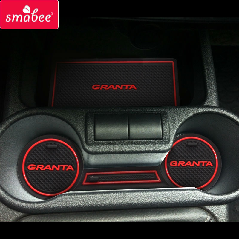 For Lada Kalina GRANTA Accessories,3D Rubber Car Mat Car Anti Slip Mat, Non-slip Mats Interior Door Pad/Cup Mat slogan print door mat