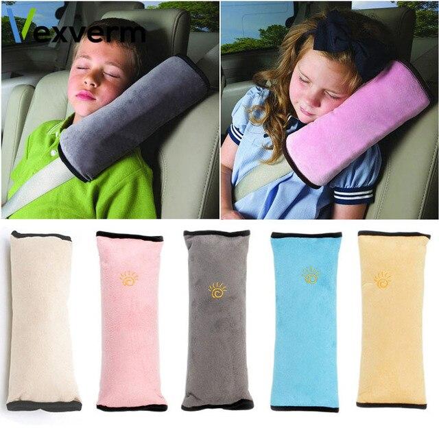 Vexverm Crianças Travesseiro Cinto de segurança Cinto de Segurança Do Carro Almofada de Pelúcia Crianças dos miúdos Ombro Almofada Encosto de Cabeça Do Veículo