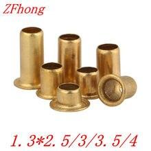 1000 pçs/lote alta qualidade m1.3 * 2.5/3/3.5/4 1.3mm novo cobre oco rebite dupla face placa de circuito pcb vias unhas