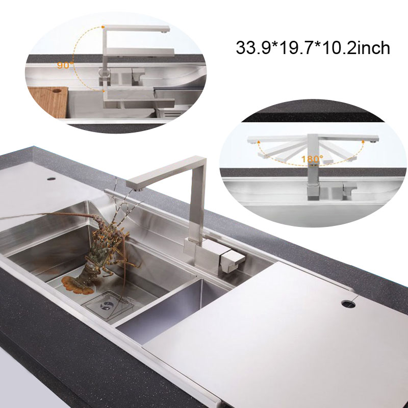 86*50*26 2014 New 3D Hidden Sinks SUS 304 Stainless Steel Kitchen Sink  Luxury Single Slot, High End Manual Craft In Kitchen Sinks From Home  Improvement On ...