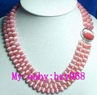 FREE SHIPPING>>>@@ 3 Rows Pink Opal Necklace